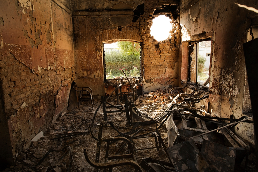 L'interno del Centro Traumatico di MSF a Kunduz, nel nord dell'Afghanistan, il 14 ottobre 2015 dopo l'attacco aereo subito.