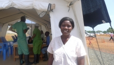 Ebola survivor turned caretaker at MSF's Elwa 3, Monrovia