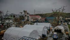 Inflatable hospital set up in the compound of Bethany hospital, Tacloban.