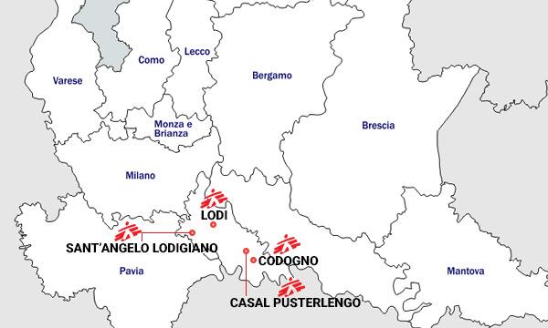 Mappa dell'intervento di MSF in Italia contro il coronavirus